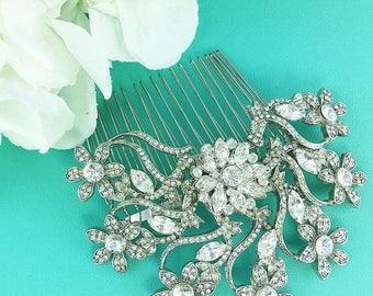 SALE 50% Off Swarovski Crystal Wedding Comb, Crystal Rhinestone Comb, Wedding Comb, Bridal Hair Comb, Rhinestone Comb 475534096