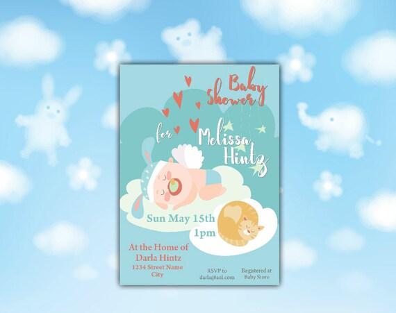 Sleeping Baby & Cat Shower Invitation