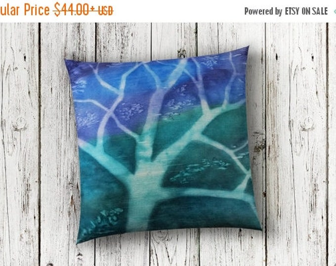 SALE Blue Tree Pillow Cover 18x18 - Watercolor Pillow Cover in Dupioni Silk - Gift