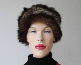 Black Brown Fur Vintage Hat // Size 56