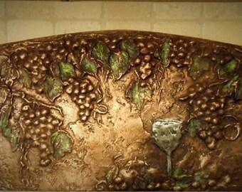 Grapes & Leaves Backsplash Mural In Copper