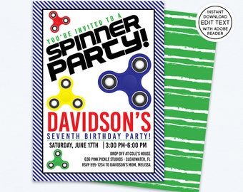Fidget Spinner Invitation, Fidget Spinner, Spinner Invitation, Fidget Spinner Party, Spinner Party, Spinner Birthday, Hand Spinner | 636