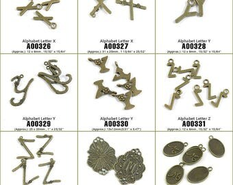 Jewelry Making Supply Charms Findings Alphabet Letter X Y Z M Signs Tag Bronze Tone Crafting Craft Supplies Jewellery Lots Charme Filigrees