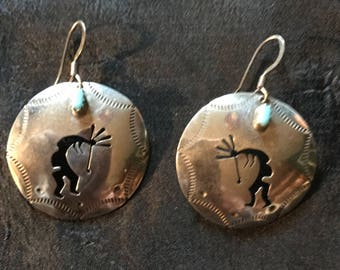 Kokopelli Sterling Silver Turquoise Handmade Artisan Crafted Southwest Earring