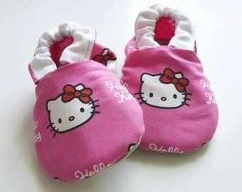 Hello Kitty Moccasins,Hello Kitty Shoes,Hello Kitty,Baby Shoes,Pink Baby Shoes,Soft Sole Shoes,Baby Booties,Baby Moccasins,Toddler Moccasins