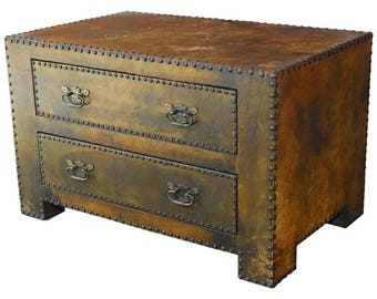 Beautiful Diminutive Leather Clad Tabletop Chest Of Drawers Or Trunk