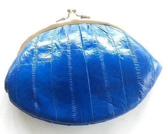GEMINI SALE Genuine Royal Blue Eelskin Vintage Kiss Lock Top Pouch / Coin Purse / Vintage Accessories / Gifts Under 20