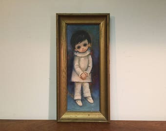 """Big Eyed Harlequin Boy by Ozz Franca 15"""" x 6"""" Lithograph in Gold Painted Wood Frame - Big Eye Harlequin Boy in White Costume"""