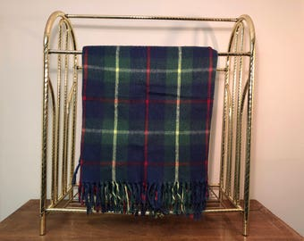 """50"""" x 50"""" Blue Plaid Stadium Blanket / Throw with Fringe - Blue, Green, Red, Yellow"""