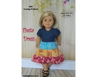18 inch doll clothes Pattern dress American girl doll clothes pattern dress - Fiesta Dress - PDF sewing pattern