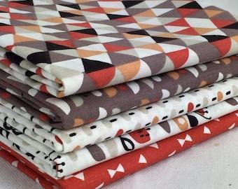 Set of 5 fabric patchwork trendy Orange / red 50 x 50 cm