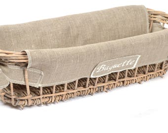 "Basket Wicker bread + natural flax + embroidery ""Baguette"" fabric"