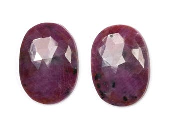 Dark Pink Sapphire, Oval Cabochons, Rose Cut Pair, Rainbow Sapphire, Cabochon Slice, Natural Sapphire, Loose Sapphire, Loose Gemstones