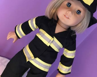 """SALE fits 18"""" or American Girl dolls clothes fire fighter uniform 3 pieces"""