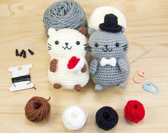 Cat crochet kit - Cat Amigurumi Kit - Cat couple DIY Kit - Kitty Stuffed Animal Kit - DIY Valentine Gift - Cat Lover Gift