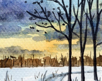 ACEO Original Watercolor Painting-Sunset Landscape Winter/Snow