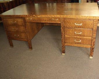 Antique Oak Executive Desk, circa 1900-1910
