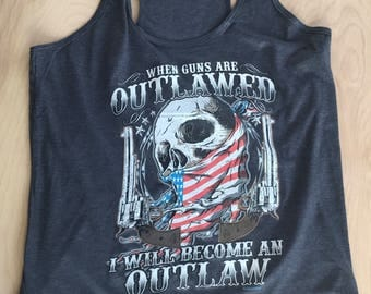 2nd Amendment Outlaw Design - Patriotic  -T Shirt Tank Racerback - Mens - Womens - Unisex