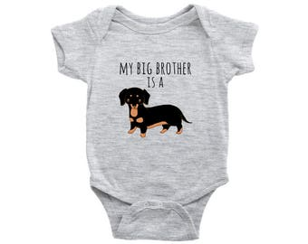 My big brother is a dachshund Doxie Baby Bodysuit, Dog Lover Baby Clothes, Infant Baby Boy, Baby Girl Bodysuit, Newborn Baby Shower Gift