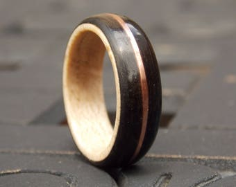 Ebony Maple and Copper wood ring size 10 1/2