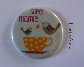 Super Grandma Magnet / Pocket mirror / Badge pin gift Grandma grandmother.