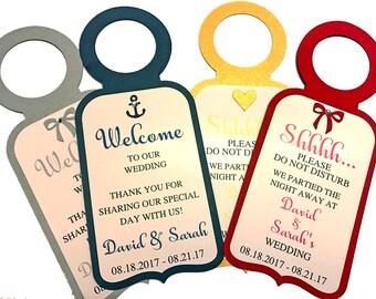 Wedding Door Hangers, Do not disturb Signs, Wedding Welcome Bags, Wedding Favors, Destination Weddings Hotel Door Sign custom door hanger