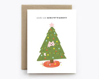 Cat Christmas Card - Wonder and Meowyment - Cute Cat in a Christmas Tree