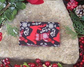 Scandinavian Yule Business Card Holder - Gift Card Holder - Gift Under 10 Dollars - Stocking Stuffer - Heathen Yule - Folk Art - Reindeer