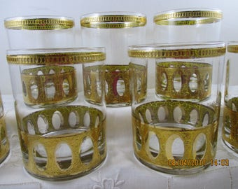 Mid Century Modern CULVER LTD 22 kt Gold ANTIGUA Low Ball Rocks Glasses (7)