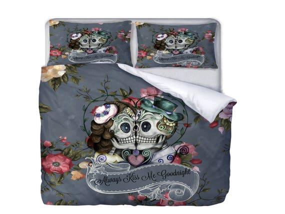 Candy Skull Bedding: Skull Bedding Sugar Skulls Duvet Cover Or Comforter Gray