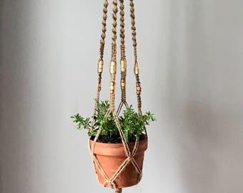 Macrame Plant Hanger -Jute w/Beads-Long Style  2