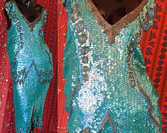 Party Dress Sequin Silk Beaded Disco Flapper Couture Dress 70s 80s Pure Silk Dress