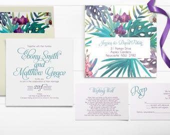 Tropical Wedding Invitations - Destination Wedding - Palm Leaves Invitation - Beach Wedding Invitation - Tropical Invitation - Beach Invites