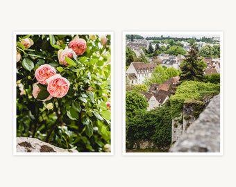 """France Travel Photography, """"French Village Charms"""", Set of 2 Fine Art Prints, Gallery Wall, Home Decor, Gift"""