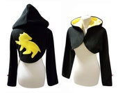 Harry Potter Hogwarts House Hufflepuff inspired cosplay costume hoodie (shrug style), potterhead, harry potter fan, witch, wizard, gothic
