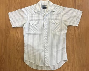 VTG Wrangler Western Shirt - Medium - Striped Shirt - Short Sleeved - Cowboy Shirt - Rockabilly - Vintage Clothing - Long Tails -