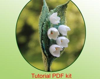 Tutorial PDF Felted Flower Brooch DIY Kit Wet Felting  Lily of the Valley Felting Instructions  Kit Wet Felting for Beginners step by step