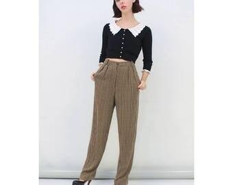 Vintage - 80's - Retro - Brown - Plaid - CHECK - Front - Pleat - Tapered - High Waist - Pants - Trousers - Slacks - AUS 8 - XS