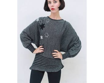 Vintage - 80's - Retro - Celestial - Black - Silver - SPARKLE - STAR - Wool - Lurex - Knit - Jumper - Top - AUS 14 - L - Large