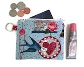 Bird Loveletter Heart Zipper Coin Purse Keychain Wallet Fabric Credit Card Case Keyring Pouch Business Card Holder Minimalist Pouch Blue Red