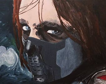 bucky barnes acrylic painting, winter soldier, marvel