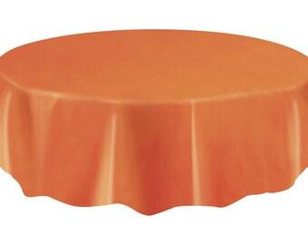 Strong Reusable 84 Inch Round Plastic Orange Table Cover - Orange Tablecloth - Fun Halloween Table Decor