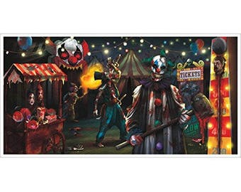 Super Size Reusable Creepy Carnival Banner - Evil Clowns & More - Create A Freaky Side Show Party Space