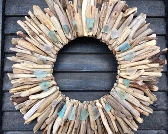 "10"" Maine Driftwood Wreath with Sea Glass - Turquoise, Aqua and White - Beach Decor - Maine Decor - Driftwood Wall Art - Driftwood Art"