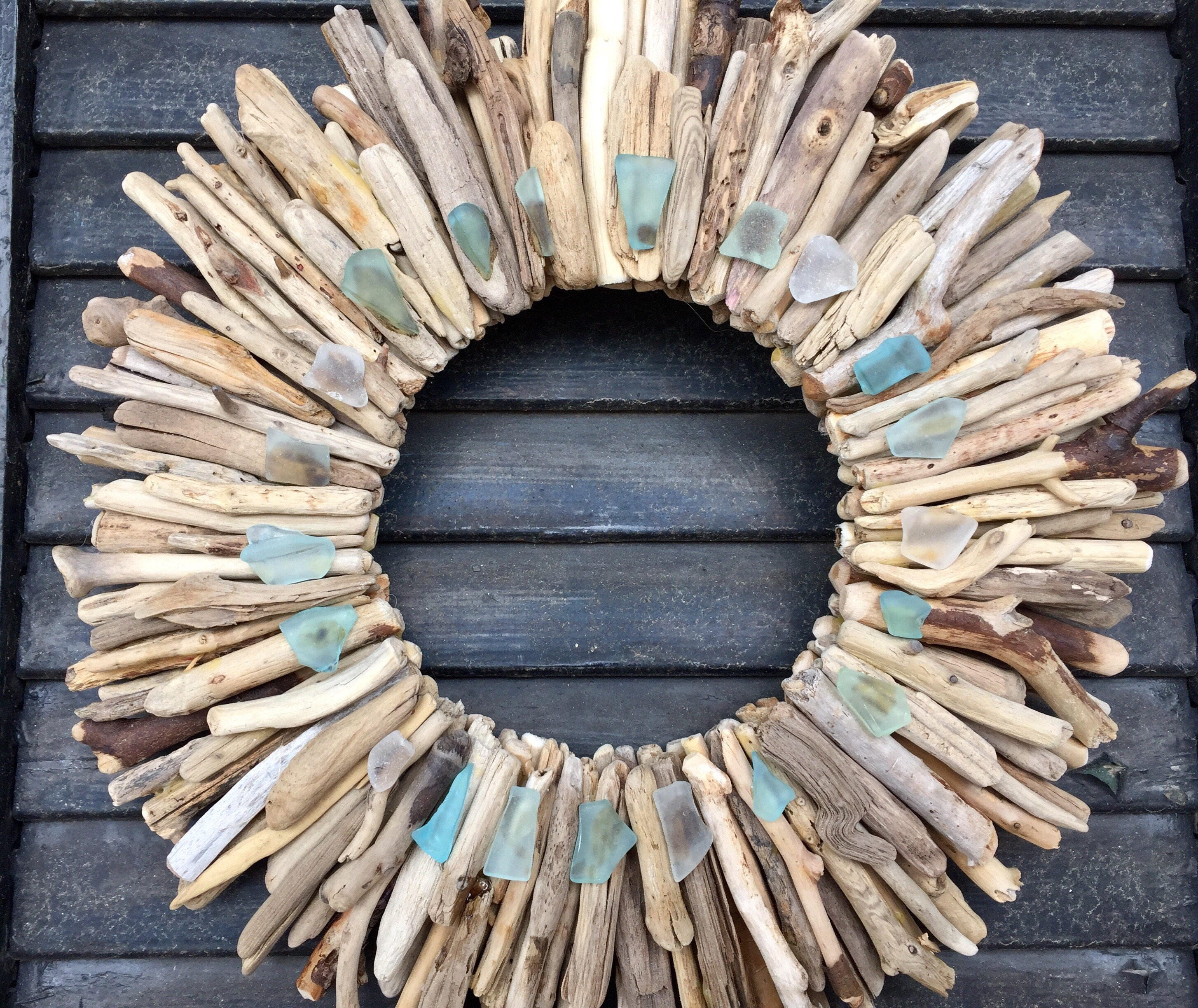 Garden wall ornaments - 10 Maine Driftwood Wreath With Sea Glass Turquoise Aqua And White Beach