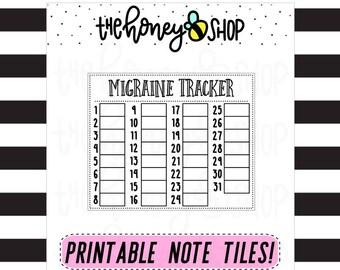 Migraine Tracker | PRINTABLE NOTE TILE
