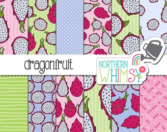 Dragonfruit Digital Paper - seamless patterns with tropical dragon fruit in pink, green, and blue - commercial use OK