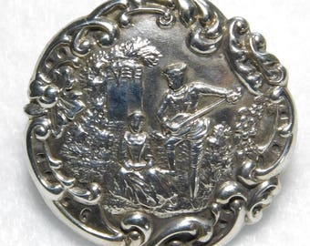 ANTIQUE Hallmarked STERLING Silver BUTTON Two Lovers  Scene Signed L&S 1.0