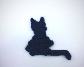 Black Cat Halloween Crochet Applique Unique Handmade Sewing Cards Crafting