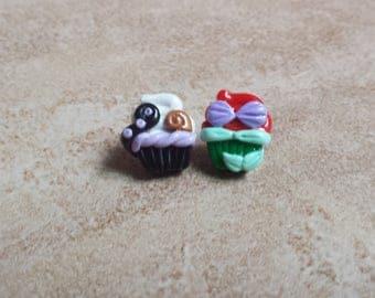 Ariel and Ursula Inspired Cupcake Earrings